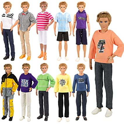 1894efc7441b6 BARWA Lot 5 Sets Fashion Shirt Outfit Clothes with Trousers for 12 inch Boy  Friend Doll