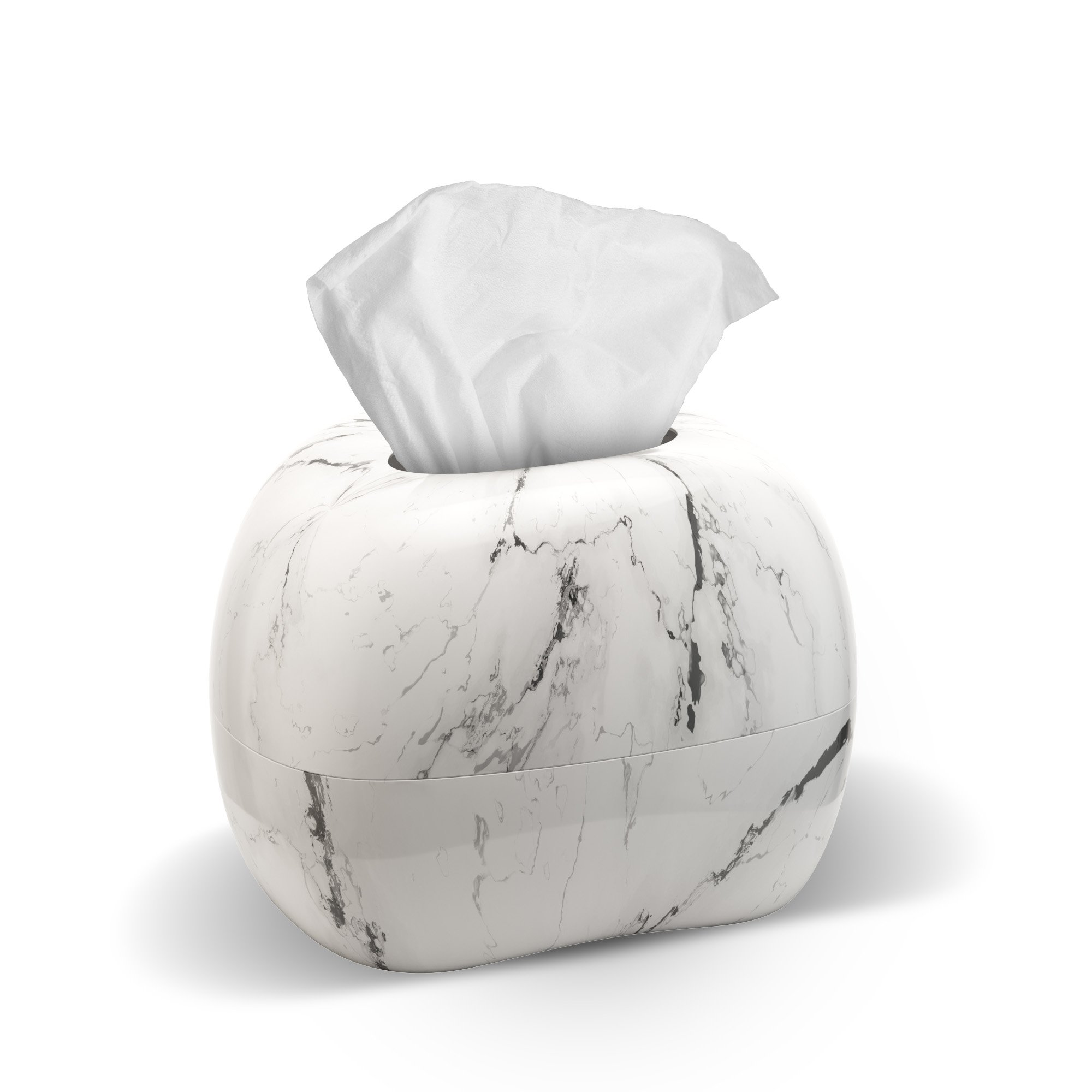 mordeco MIRRO Art Tissue Holder, White Marble Pattern, Fits in Any Kind of Tissue