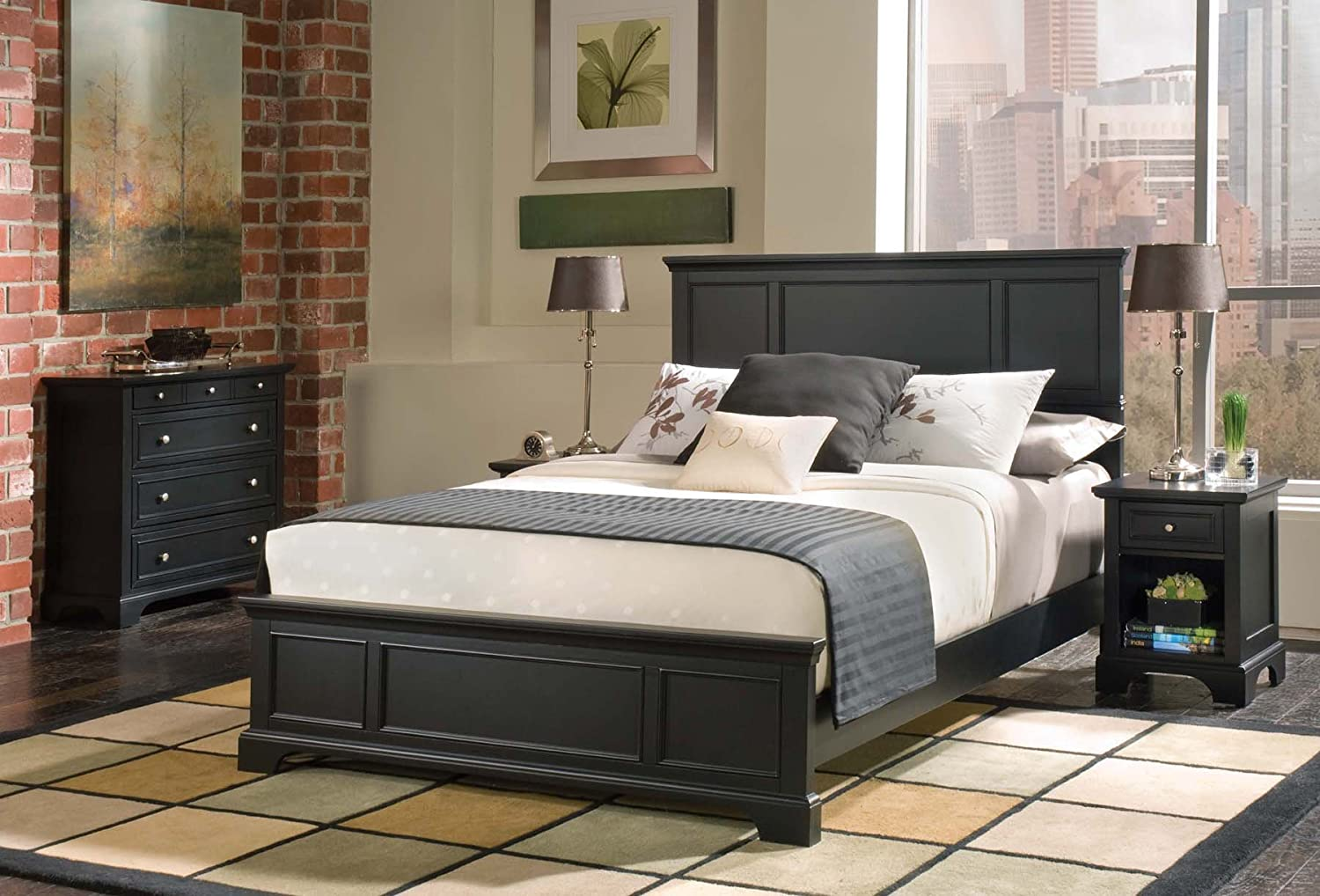 Amazon.com: Home Styles 5531-5014 Bedford Queen Bed, Nightstand ...
