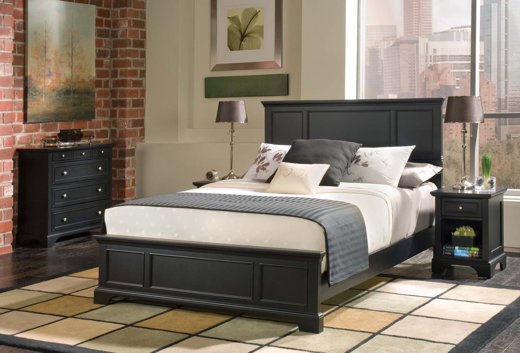Bedford Black Queen Bed, Nightstand & Chest & Home Styles by Home Styles