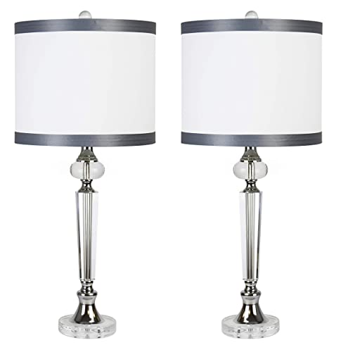 28.5 Genuine Polished Crystal Table Lamp Set ft. Clear Smooth Crystal Body, Chrome Metal Details, and White Silk Hardback Drum Shades with Dark Gray Trim Set of 2