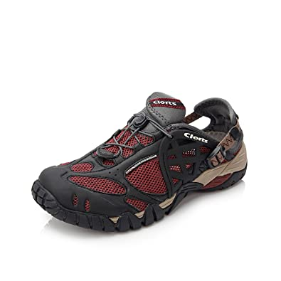 478fa83403a3 Clorts Men s Water Shoes Lightweight Quick Drying Hiking Sandal Kayaking  Beach Walking Sneaker Red WT-