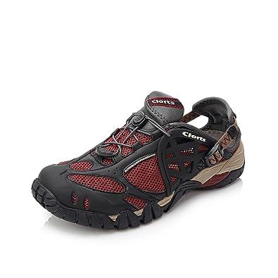 1e75736c1c21 Clorts Men s Water Shoes Lightweight Quick Drying Hiking Sandal Kayaking  Beach Walking Sneaker Red WT-