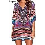 UNKE Bohemia Ethnic Vintage Women Half Sleeve Lace Up V Neck Beach Short Mini Dress,Purple,S