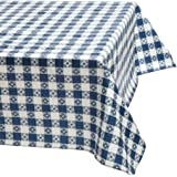 DII Picnic Check Eco-Vinyl Flannel Back Tablecloth Indoor Outdoor 52-Inch by 70-Inch Oblong (Rectangle), Blue & White