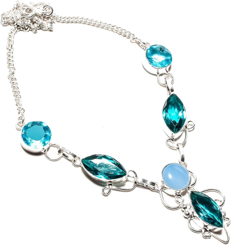 jewels paradise Joyas de paraíso Azul turmalina y topacio Azul, Collar de Gema de ágata Azul Hecho a Mano 925 Chapado en Plata de Ley – Cadena de eslabones Ajustable – (SF-1320)