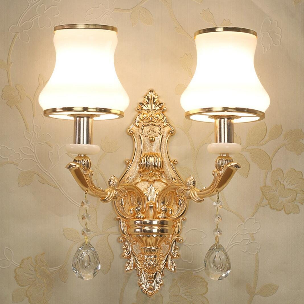 OOFAY Zinklegierung europäischen Stil Nachttischlampe kreative Wohnzimmer Schlafzimmer Wandleuchte Innen Hotelzimmer Kristall Wandlampe