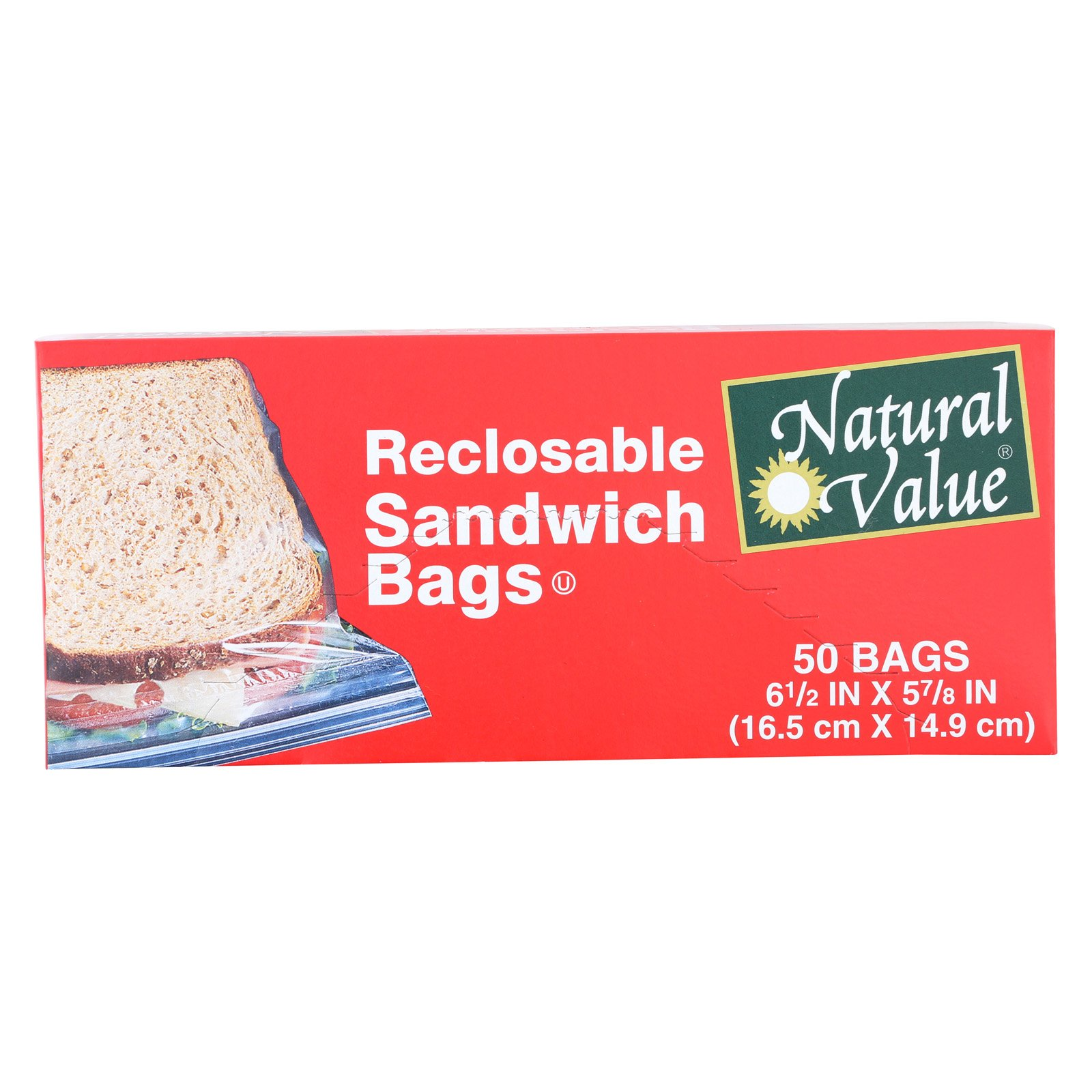 Natural Value Reclosable Sandwich Bags - Case of 12-50 Count