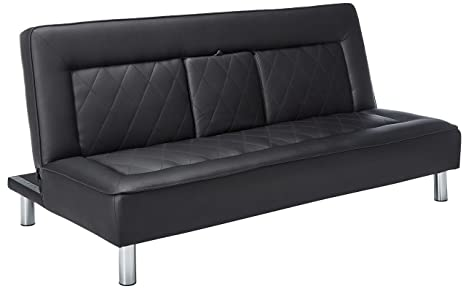 Awe Inspiring Amazon Com Sofa Bed With Drop Console And Cup Holders Black Caraccident5 Cool Chair Designs And Ideas Caraccident5Info