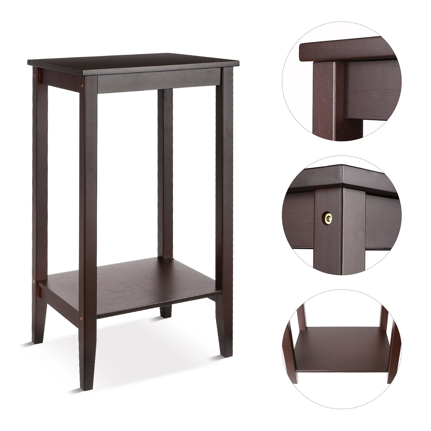 Amazon com homfa wood tall end table sofa couch side coffee table simple design multipurpose modern home furniture retro color home kitchen
