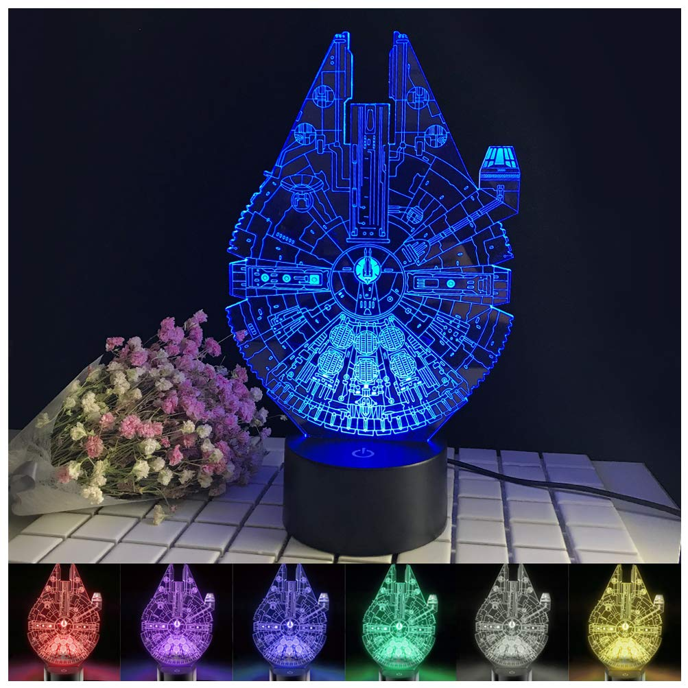 Millennium Falcon Death Star Cute Pig Wine Cup Bottle Colored Night Light Battery USB Desk Lamp Gift for Kids Dad