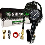 """Rhino USA Tire Inflator with Pressure Gauge (0-100 PSI) - ANSI B40.1 Accurate, Large 2"""" Easy Read Glow Dial, Premium…"""
