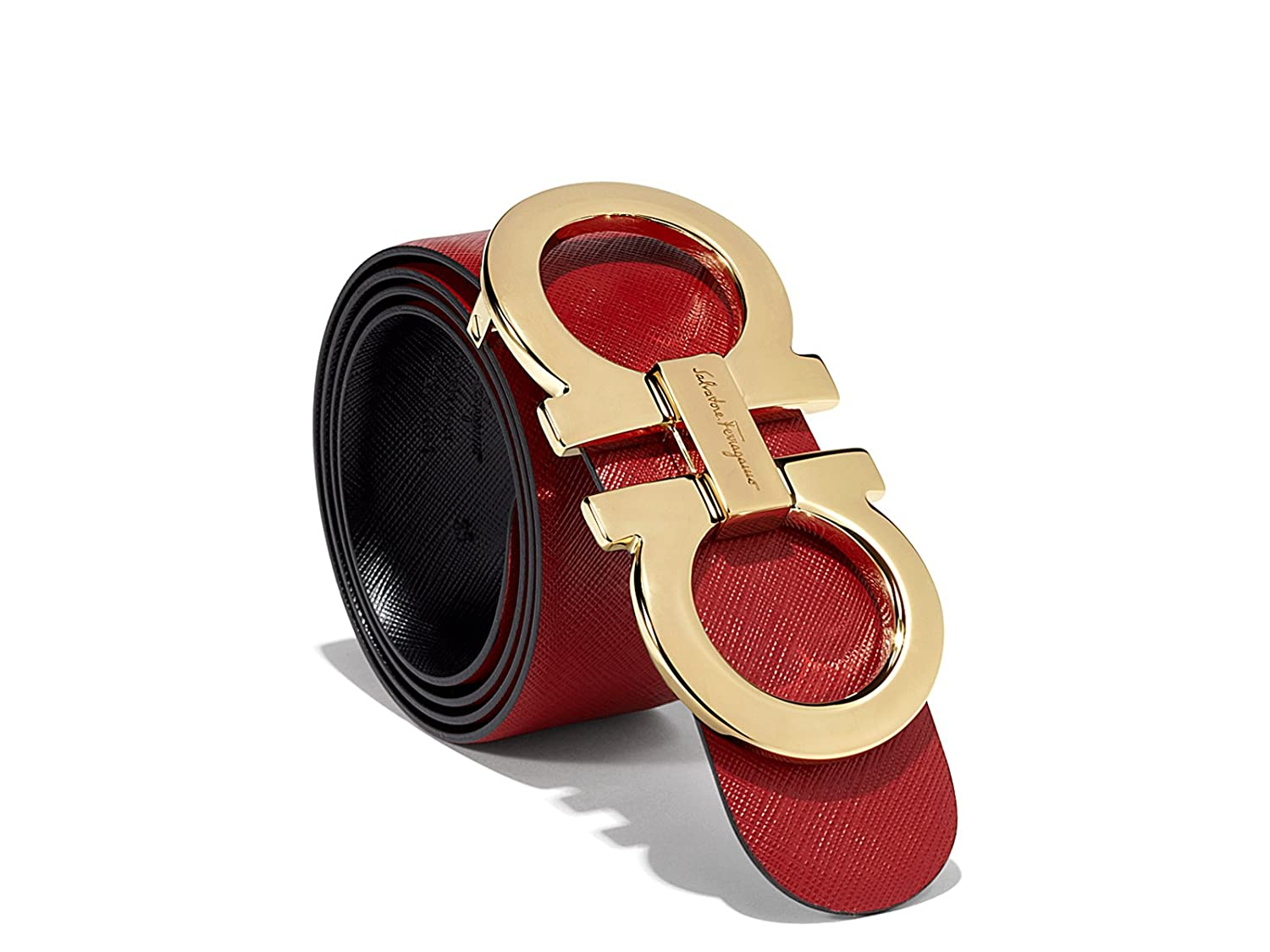 Salvatore Ferragamo Black/Red Reversible Big Gold Buckle Belt