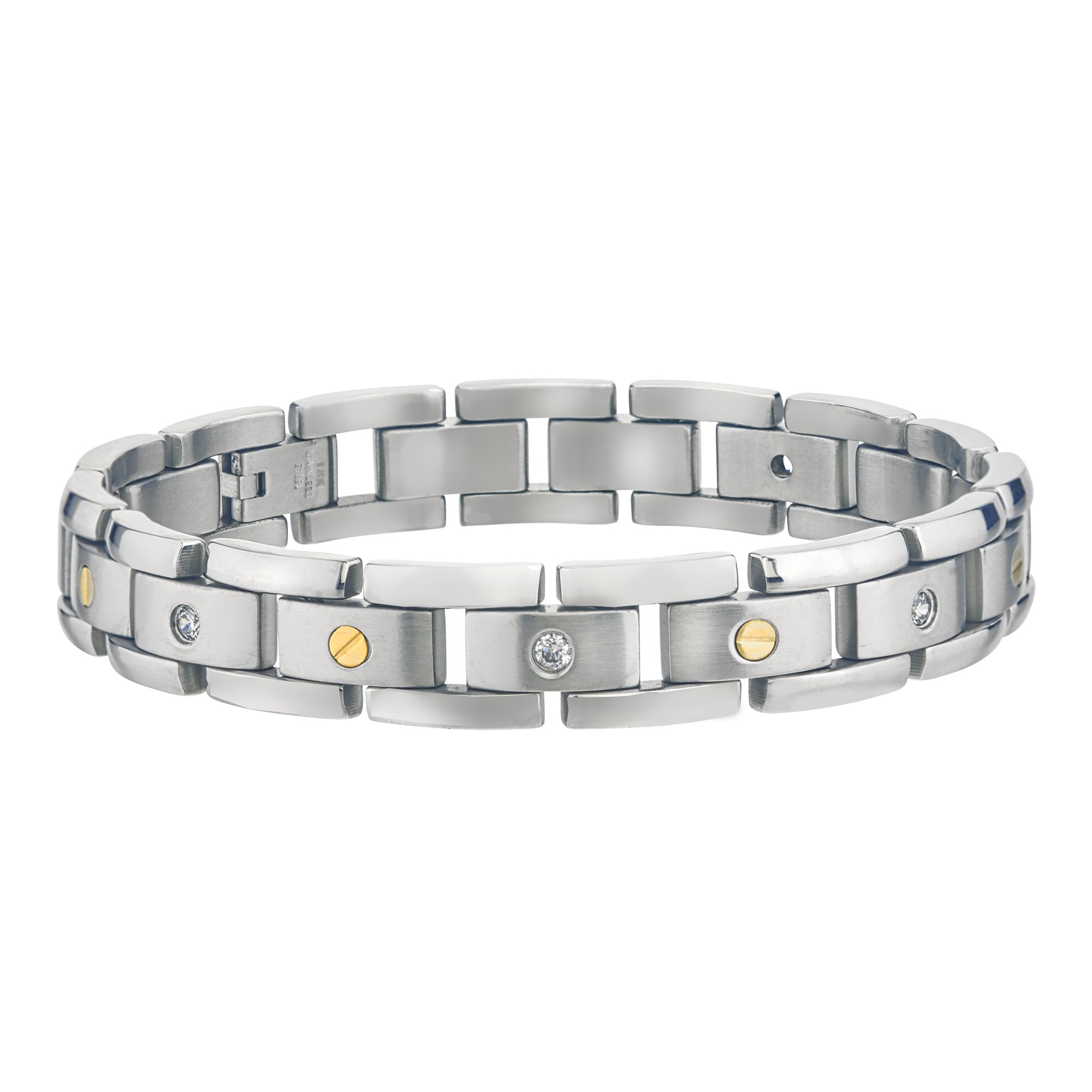 Mens Diamond Bracelet in Stainless Steel (0.15cts, H-I I3)
