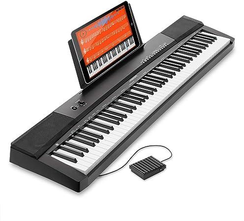 Hamzer teclado electrónico portátil digital de 88 teclas con teclas sensibles al tacto
