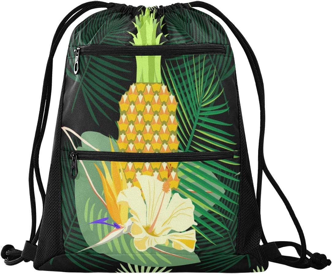 Drawstring Bag Butterfliy Leaves Lightweight Sring Backpack Bags for Adult Men and Women with Zipper Mesh Pockets