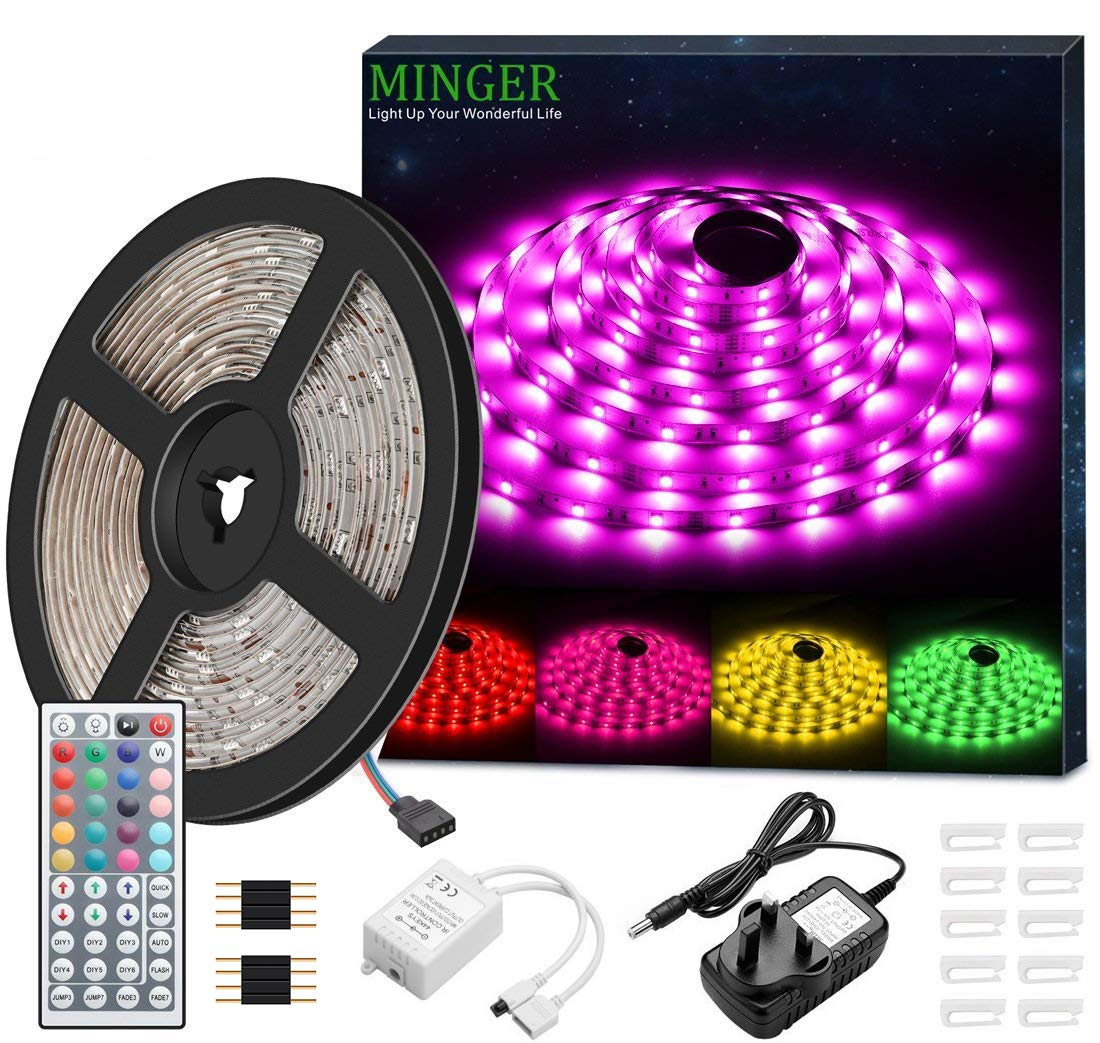 LED Strip Light Waterproof MINGER 5m RGB SMD 5050 LED Rope Lighting Color Changing Strips