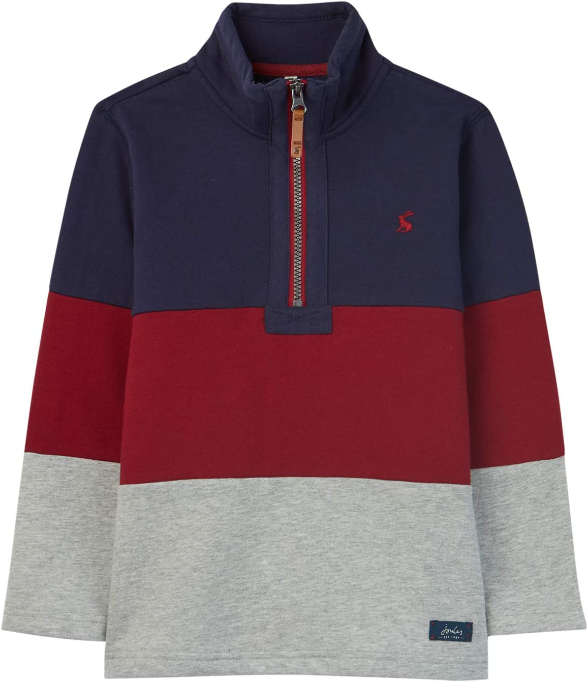 5 Joules Junior Dale Boys Cut And Sew Overhead Sweatshirt Navy Red Grey