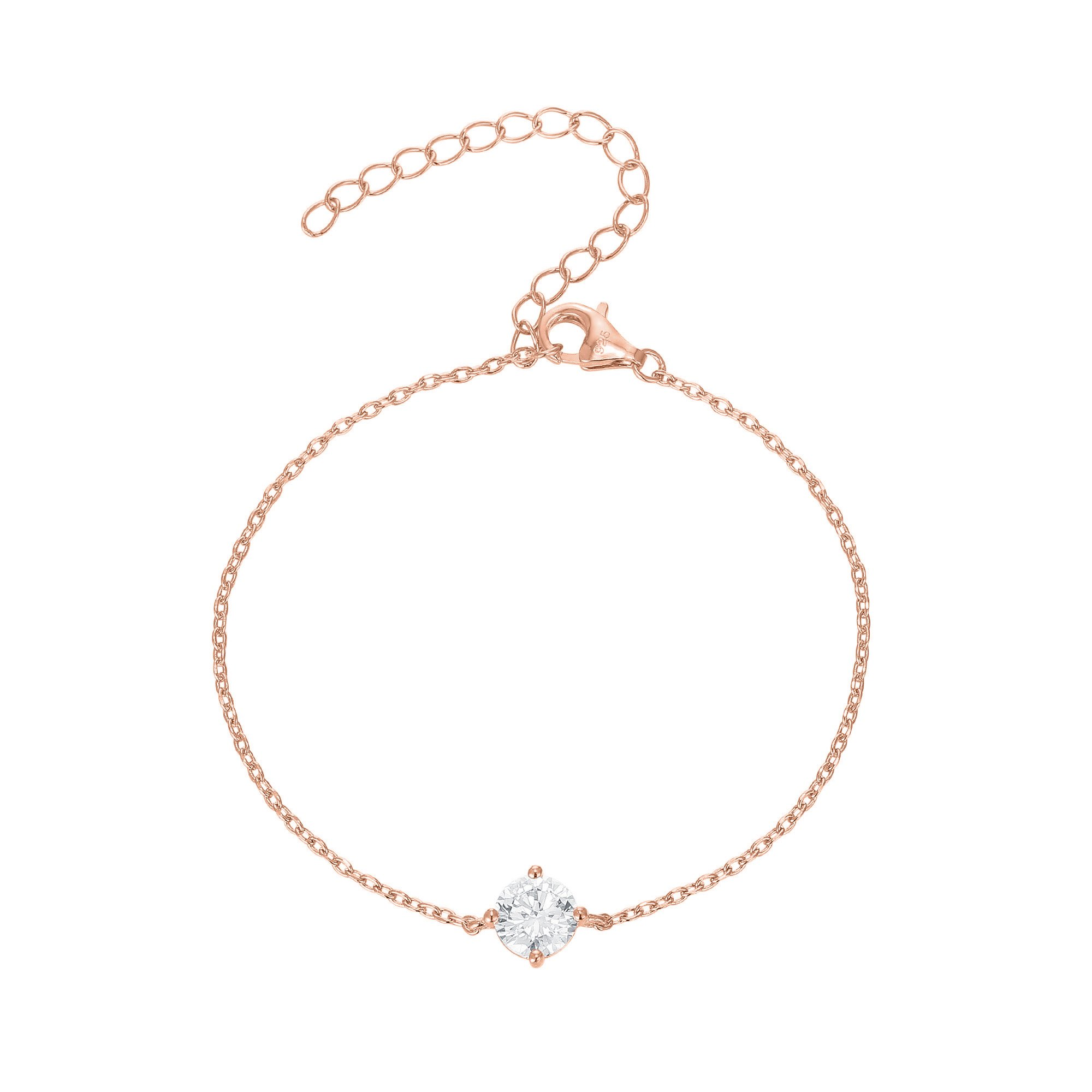 PAVOI 14K Gold Plated Simulated Solitaire Diamond Bracelet - Rose