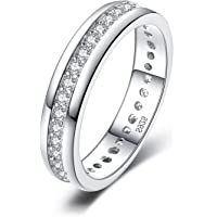 JewelryPalace Cubic Zirconia Anniversary Channel Set Wedding Band Eternity Ring 925 Sterling Silver