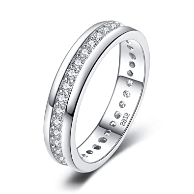 4MM High Polish Ladies Eternity Titanium Ring Wedding Band with CZ Size H 1/2 to R 1/2