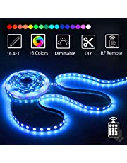 LED Strip Light Kit 16.4ft/5m Flexible Color Changing RF Remote Led Lights Strips 5050 RGB Rope Light with 44 Key Controller 12V2A Power Supply for Home & Kitchen and Christmas Decorative