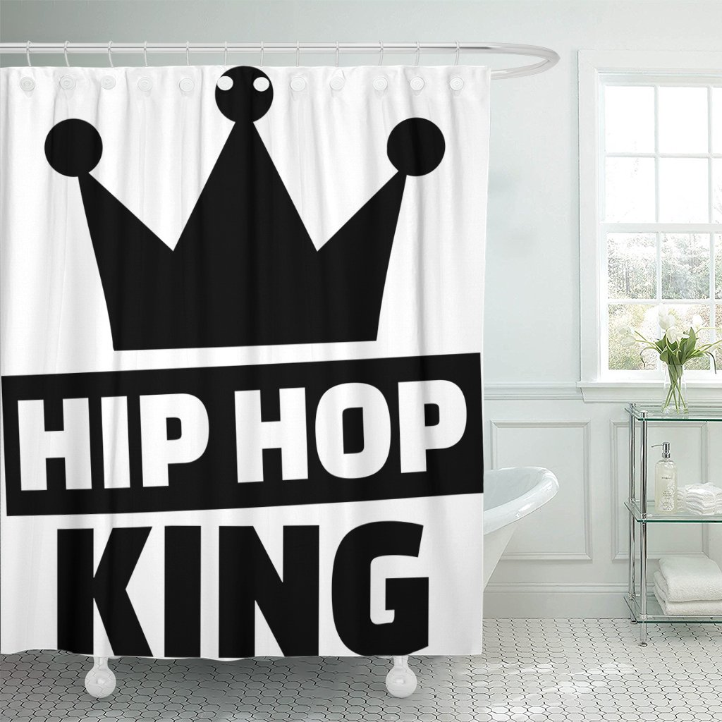 TOMPOP Shower Curtain Hiphop Hip Hop King Crown Music Break Breakdance Breakdancing Waterproof Polyester Fabric 78 x 72 Inches Set with Hooks