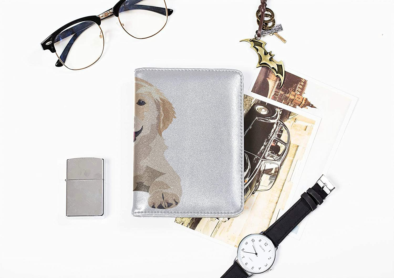Passport Case Girls Cute Watercolor Dog Golden Retriever Passport Cover Multi Purpose Print Passport Cover Holder Case Travel Wallets For Unisex 5.51x4.37 Inch
