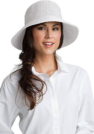 267b793bac0c1 Coolibar Damen Sonnenhut UV-Schutz 50+ weiß, OneSize: Amazon.de ...