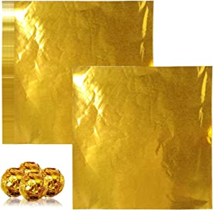 Chocolate Candy Wrappers Aluminium Foil Paper Wrapping Papers,200 Pack Extra-Large Square Sweets Lolly Paper Food Candy Tin Foil Wrappers for Candy Packaging Decoration (7.87 x 7.87 In)