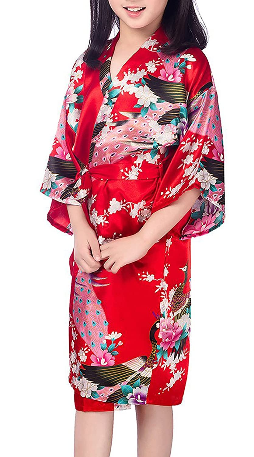 Admireme Girls' Peacock Satin Kimono Robe Bathrobe Nightgown
