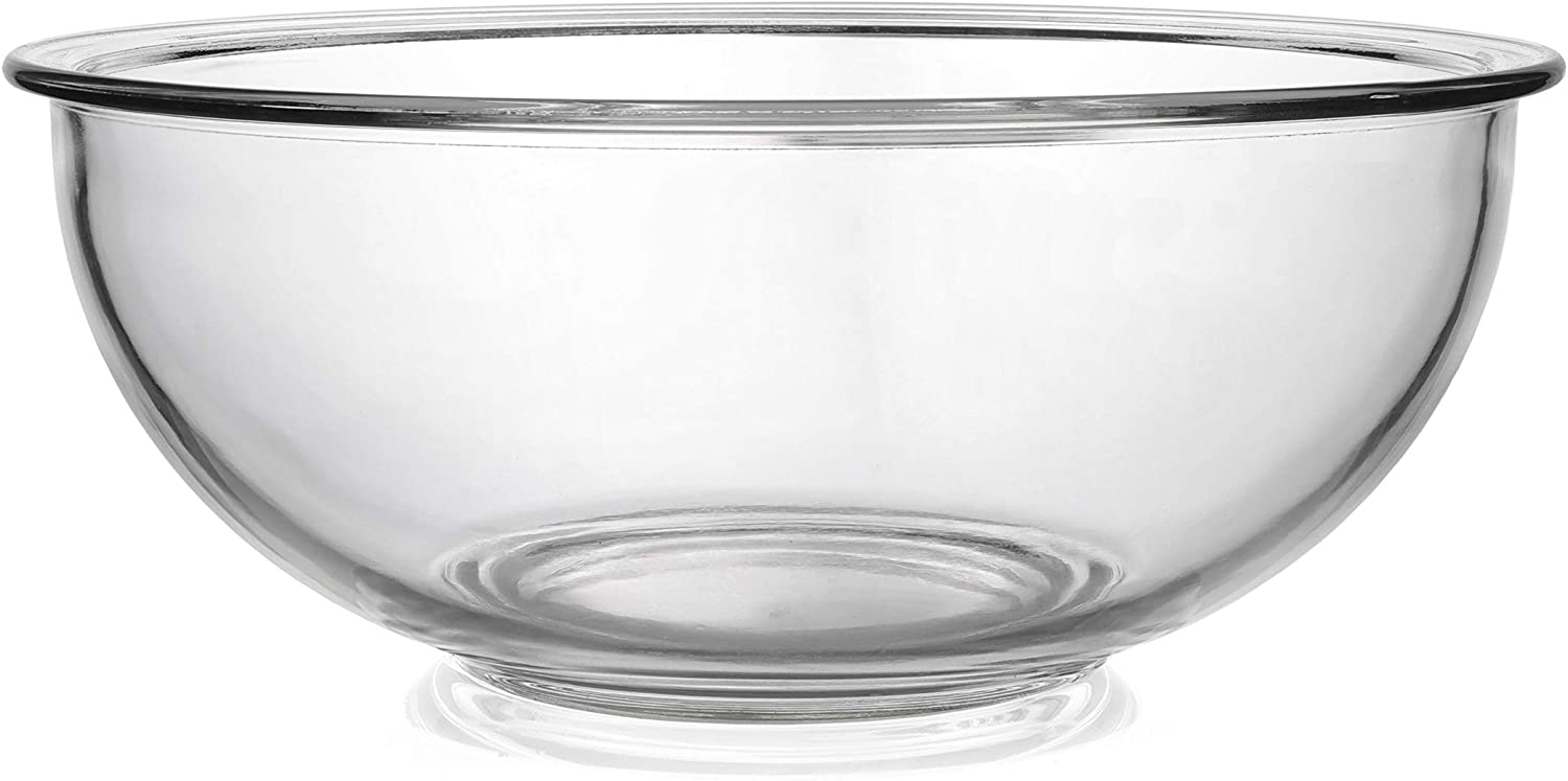 Bovado Glass Bowl for Storage, Mixing, Serving - Clear, Dishwasher, Freezer & Oven Safe Glass, Easy-Clean, 4 QT