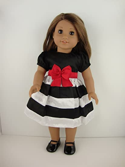 65875ab793f5 Image Unavailable. Image not available for. Color  Cute Dress in Black and  White Stripes and Red ...