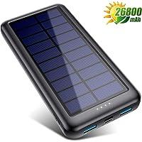 QTshine Cargador Solar con Entradas Tipo C & Mirco USB, Batería Externa Solar 26800mAh Power Bank Solar Carga Rápida con 2 Salidas USB para iPhone Android iPad Cámara, Actividades Al Aire Libre