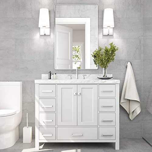 ARIEL 43″ Inch Rectangle Sink White Bathroom Vanity Cabinet