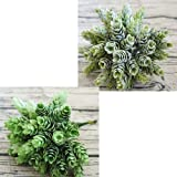 Supla 2 Bushes 7 inch Artificial Shrubs Artificial Succulent Faux succulents Faux Pinecone Plastic Succulents, 6 stems Bush