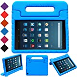 """MENZO Case for Amazon All-New Fire HD 8 2018/2017 - Shockproof Convertible Handle Light Weight Protective Stand Cover Kids Case for Fire HD 8"""" (2017 and 2018 Releases) Tablet, Blue"""
