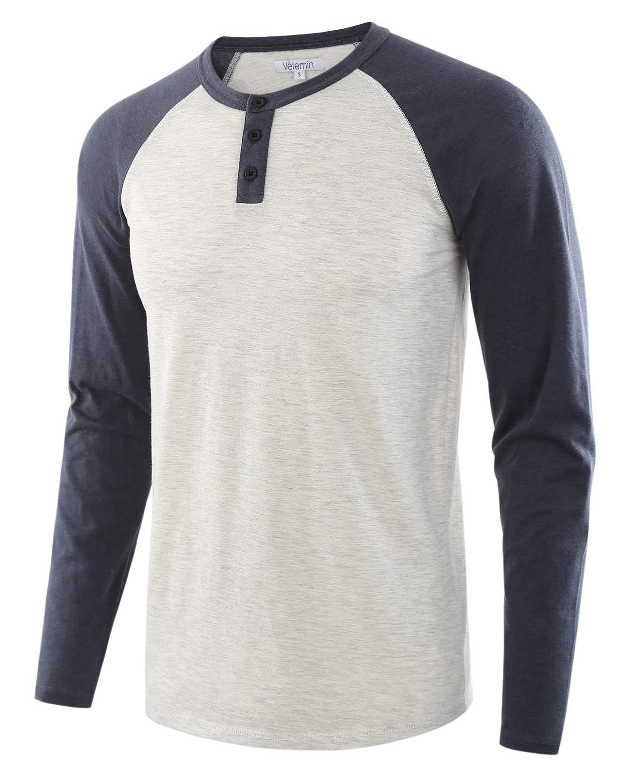 219699cb8a0b Vetemin Men's Casual Vintage Long Sleeve Raglan Henley Shirts Baseball T- Shirt H.Oatmeal/C.Blue S