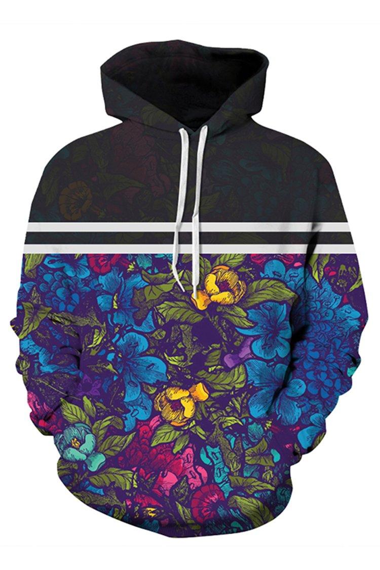 COCOLEGGINGS Unisex Floral Print Drawstring Pullover Coat Hooded Sweatshirts S