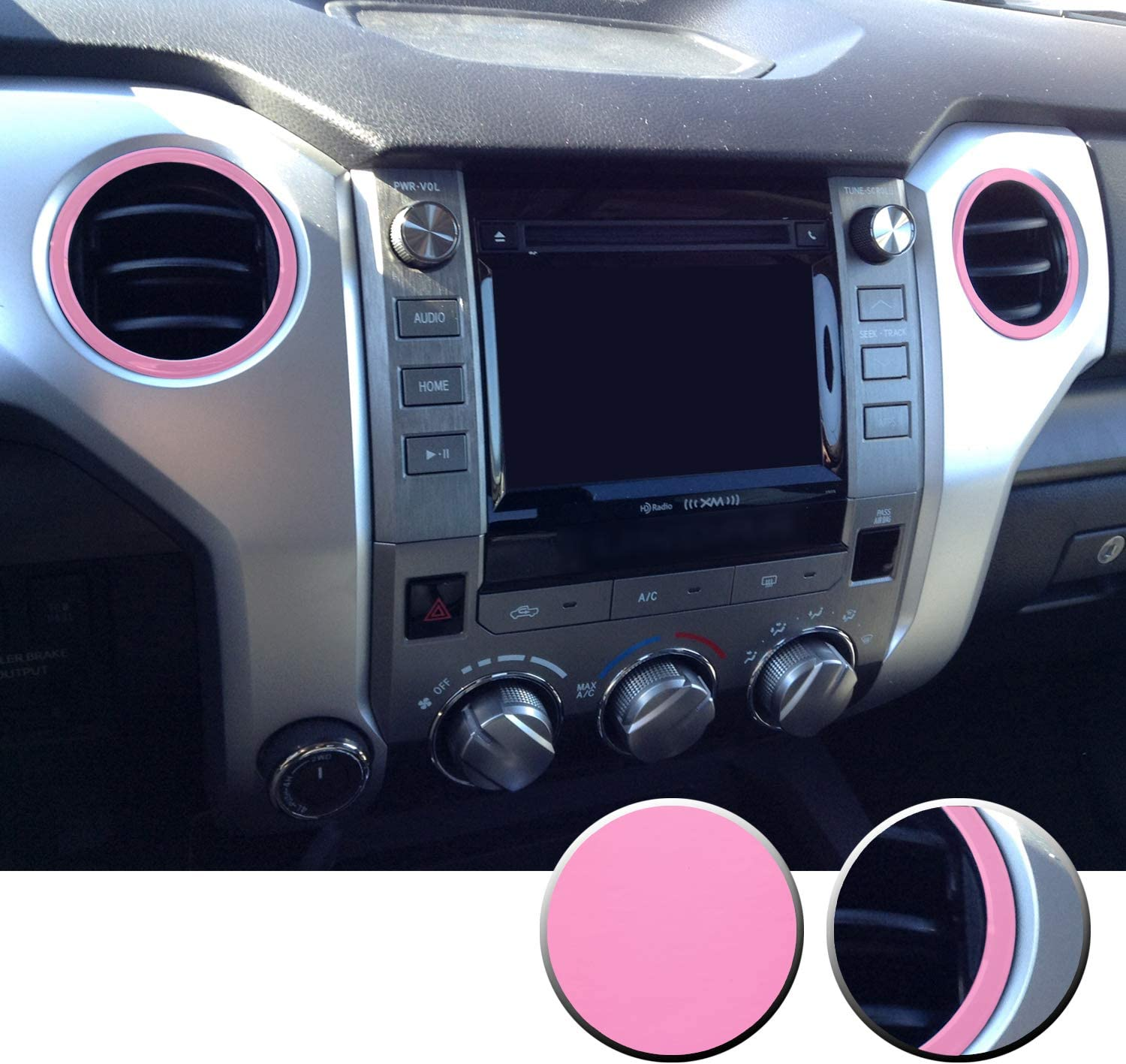 Optix AC Vent Rings Vinyl Decal Overlays Wrap Trim Inserts Sticker Compatible with and Fits Tundra 2014 2015 2016 2017 2018 2019 2020 Matte Pink