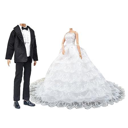 Amazon.es: Webeauty Vestido de Novia para Muñeca & Conjunto de Boda, Vestido de Novia Hermosa con Velo y Traje Formal de Traje de Novio para Regalo de ...