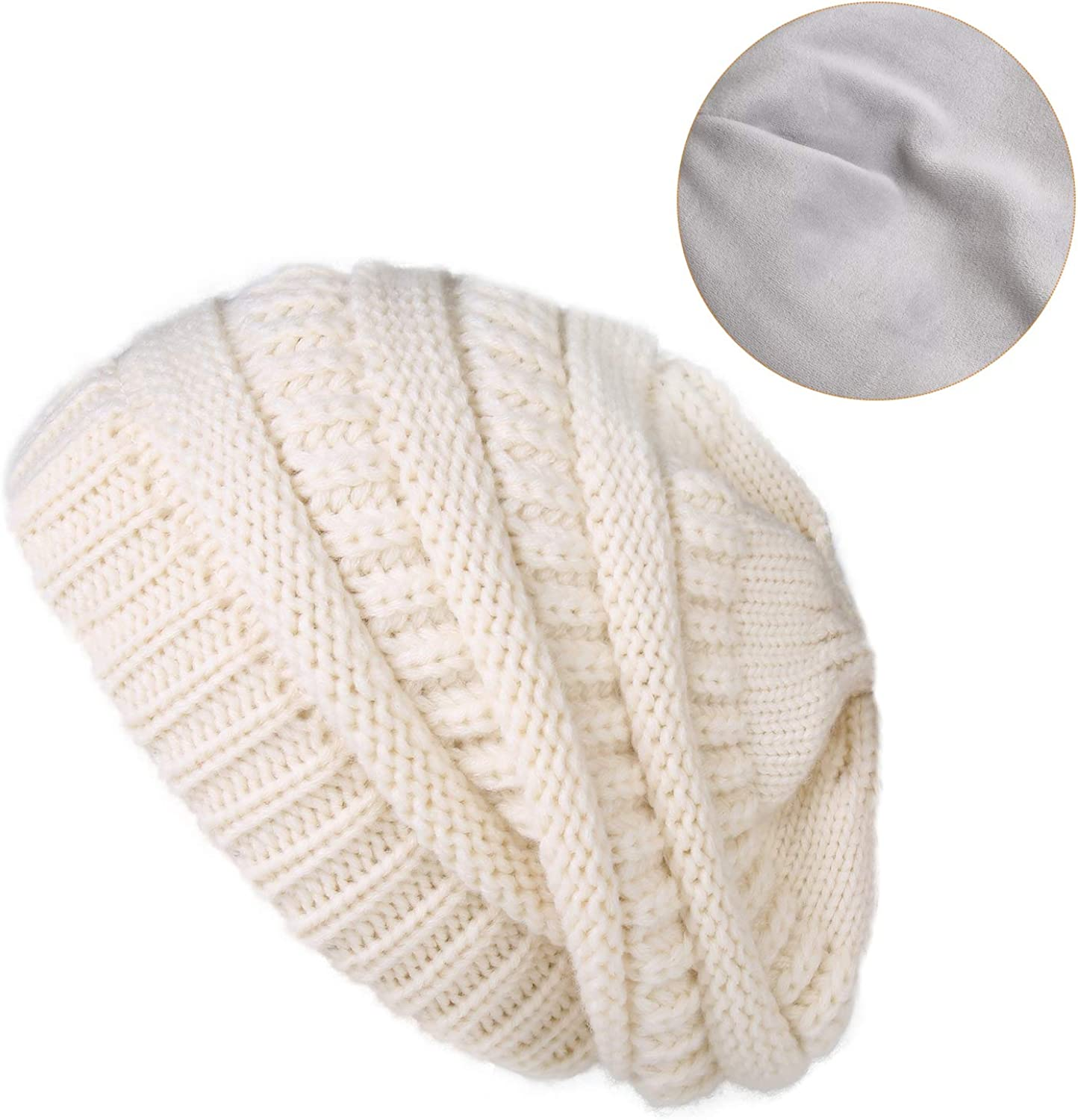 camptrace Winter Hats for Women Knit Slouchy Hat Warm Soft Fleece Lined Beanie for Women for Canada