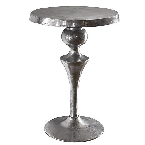 Contemporary Cast Aluminum Pedestal Table | Round Silver Metal Modern