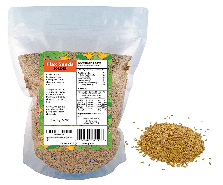 Semillas de lino orgánicas doradas crudas, secas, sin OMG ...