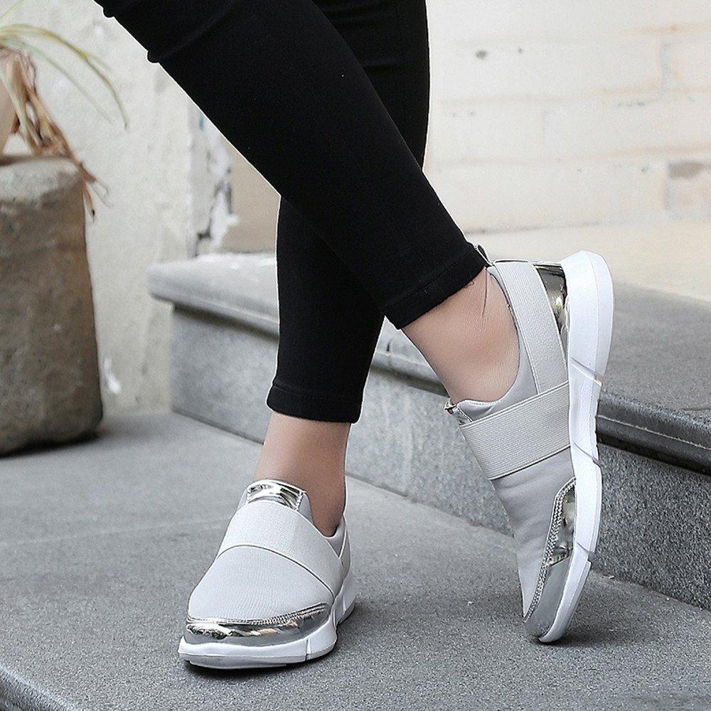 Rawdah Femmes Mesh Casual Mocassins Respirant Plat Doux Chaussures de Course Gym Chaussures de Sport Net Respirant Casual Femmes Doux Sole Chaussures de Course