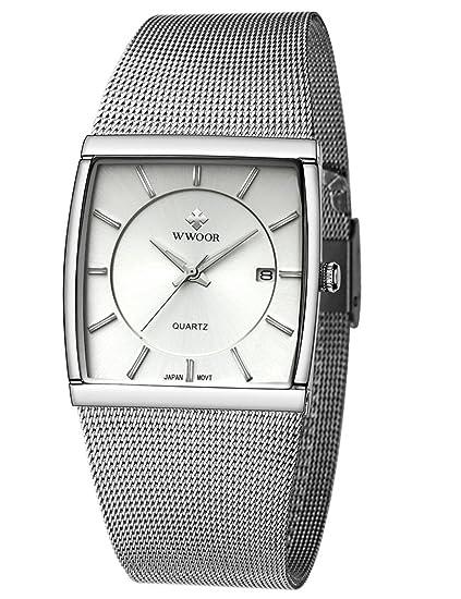 wwoor banda de malla de acero inoxidable FECHA de cuarzo analógico Dress Reloj impermeable luminoso cuadrado