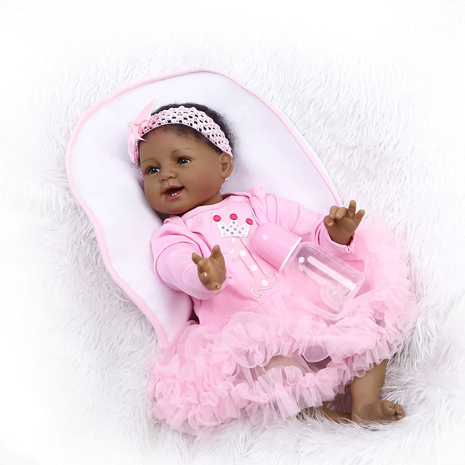 Pinky 22 Inch 55cm Lifelike Black Indian African Soft Body Silicone Reborn Baby Dolls Girl Princess Realistic Looking Newborn Doll Toddler Eyes Open Birthday Xmas Gift