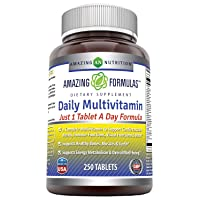 Amazing Formulas Daily Multivitamin Tablets (Non-GMO) - Just 1 Tablets A Day Formula A Complete Multivitamin to Support Cardiovascular Health, Immune Functions, Visual Functions & More* (250 Count)