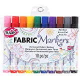 Tulip Permanent Nontoxic Fabric Markers Rainbow 10 Pack - Wide Bullet Tip, Child Safe, Minimal Bleed & Fast Drying - Premium Quality for T-shirts, Clothes, Shoes, Bags & Other Fabric Materials