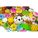 SevenMye 18PCS Random Random Kawaii Mini Soft Bread Donuts Food Phone Straps Squishy Charm Gift Miniature Novelty Toys